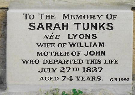Sarah Lyons Headstone