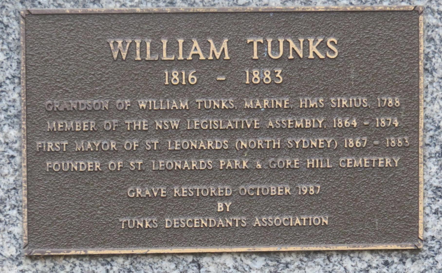 William Tunks II Plaque