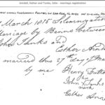 John Tunks and Esther Arndell Marriage Registration