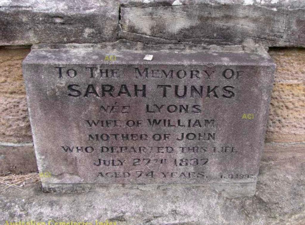 Sarah (Lyons) Tunks Headstone
